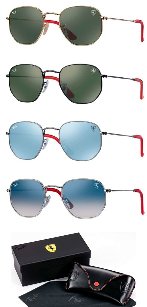 Ray-Ban RB3548NM Round Hexagonal Flat Ferrari Scuderia