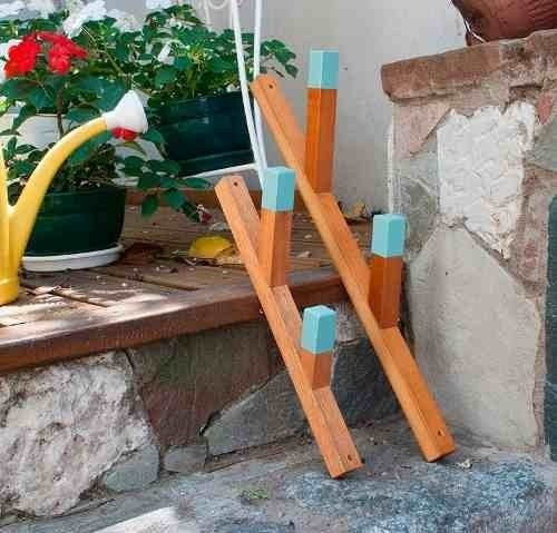Perchero De Pared Doble Grande En Madera Recuperada - media naranja objetos