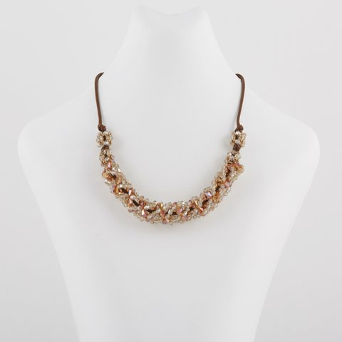 Collar espiral con cristales color Topacio