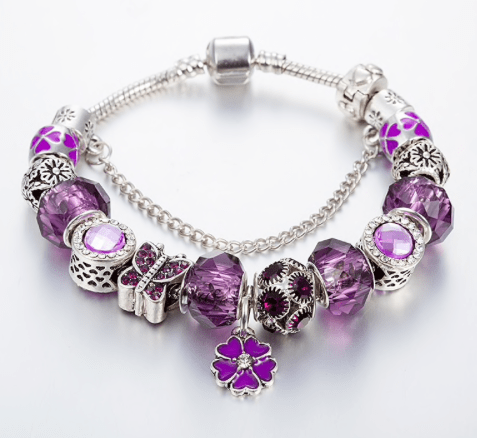 cbac4576c227 Pulsera Estilo Pandora Lucky Violet