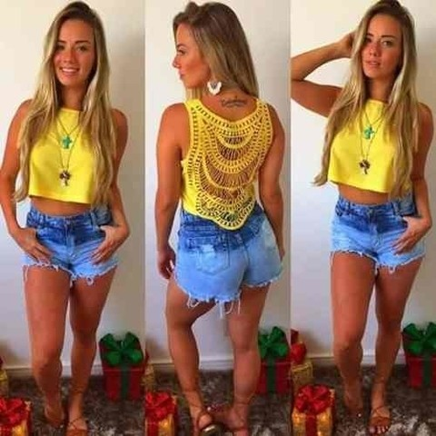 Cropped Liso Com Costas de renda