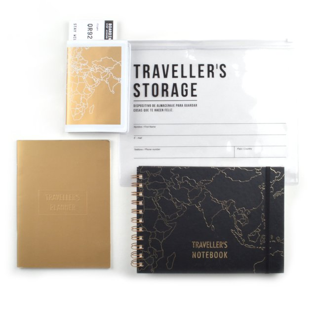 KIT DE VIAJE - TRAVELLERS ALL IN (NEGRA Y ORO) - comprar online