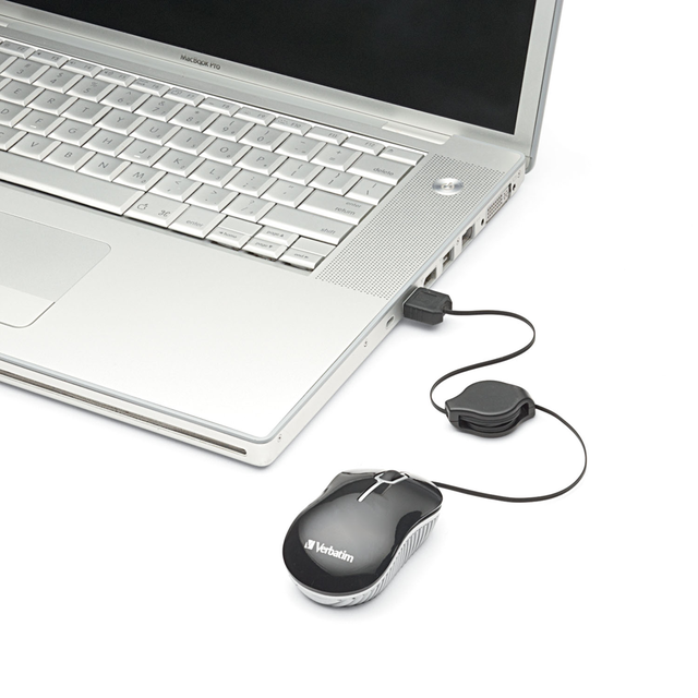 Imagen de Mini Mouse Verbatim Optico Para Notebook Con Cable Usb Retractil