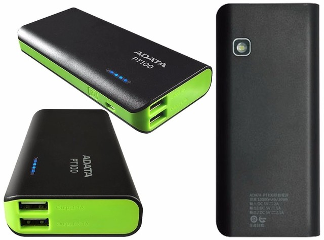 Power Bank Adata 10000 Mah Cargador Portatil Pt100 Negro en internet