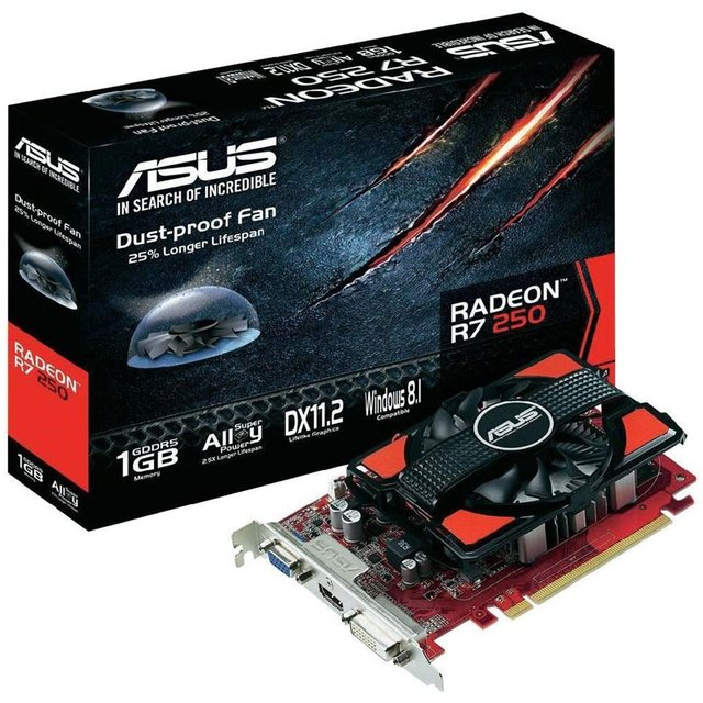 Placa De Video Asus R7 250 V2 1g Ddr5 Gamer Pc Pcie Ati