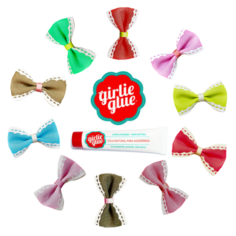Kit 10 Laços Renda RN De Colar + Cola Girlie Glue | Dalella