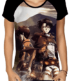 CAMISA RAGLAN ATTACK ON TITAN BABYLOOK ESTAMPA TOTAL FRENTE - comprar online