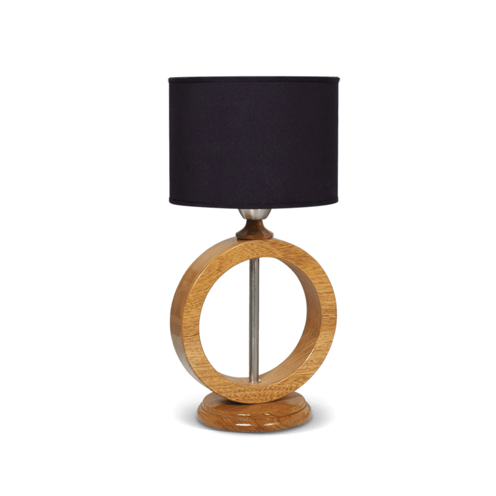Velador de mesa con pantalla negra forma redonda en madera 1 luz