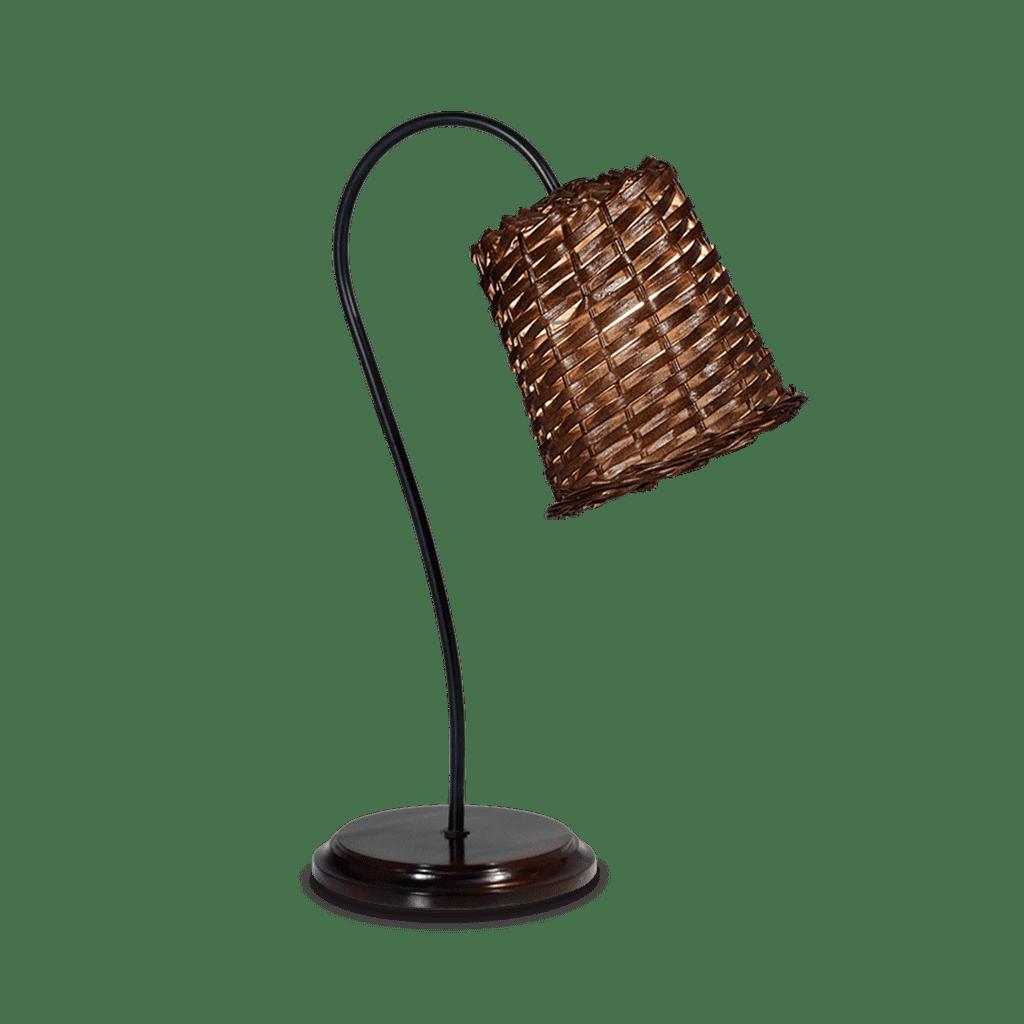 Lampara De mesa con tulipa de mimbre + Base Madera