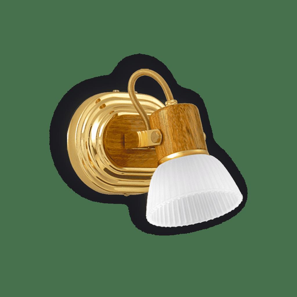 Aplique de Pared 1 luz dorado y madera + tulipa de vidrio