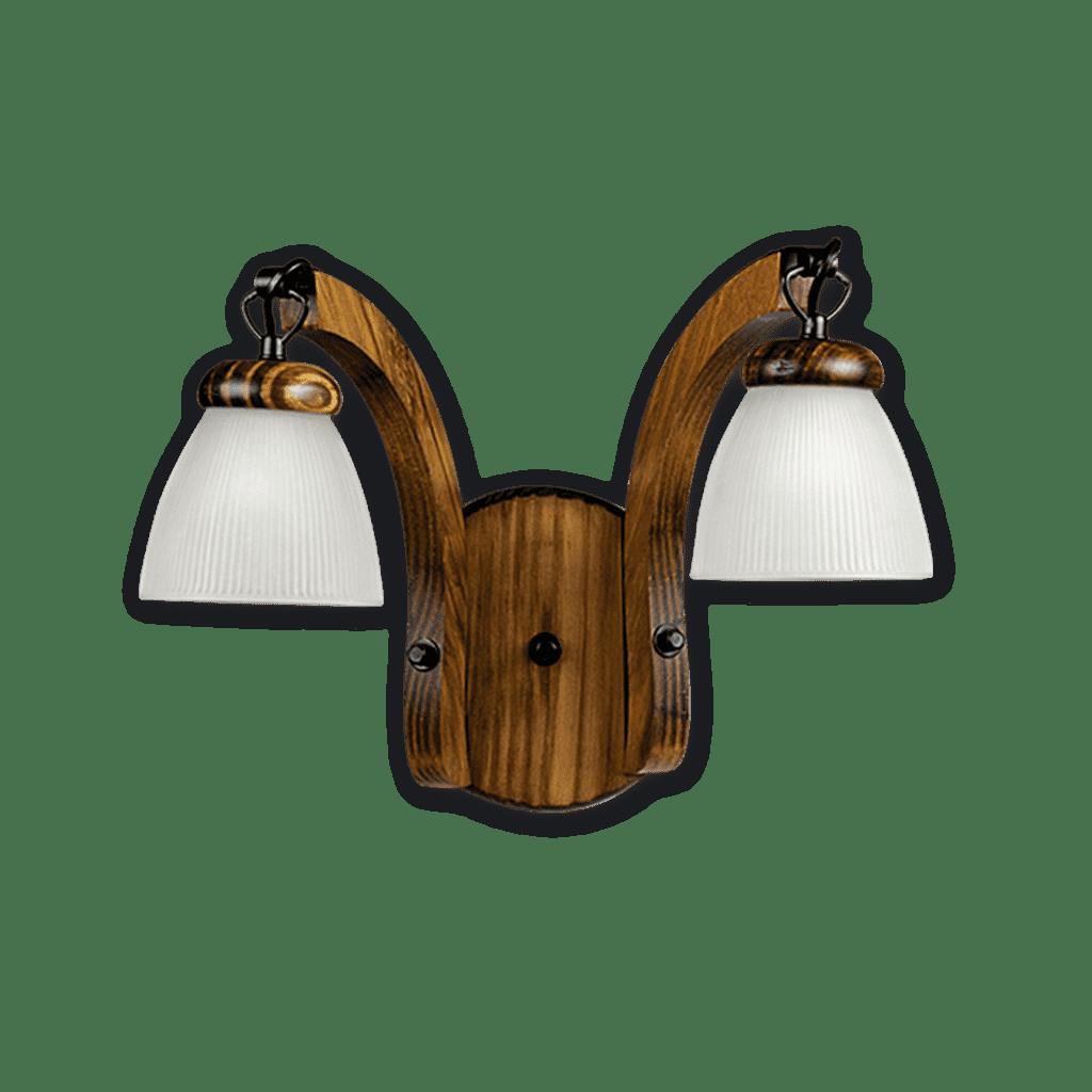 Aplique de pared de 2 luces en Madera con tulipa de vidrio