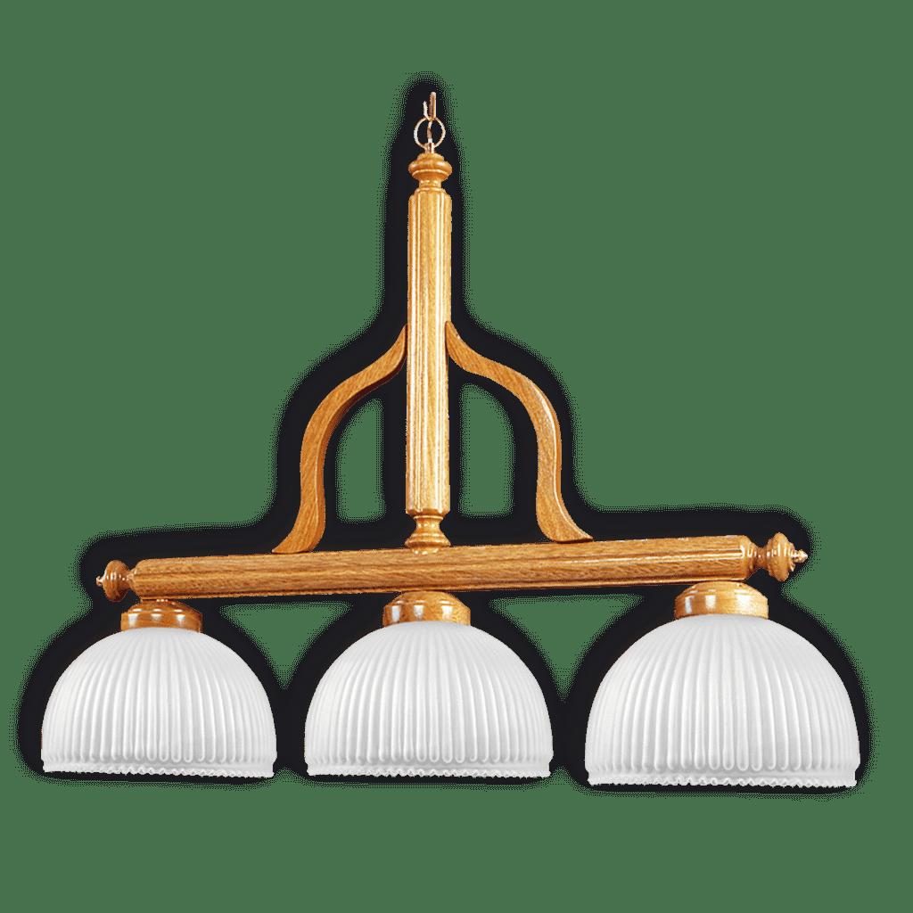 Lampara colgante techo balancin madera roble 3 luces