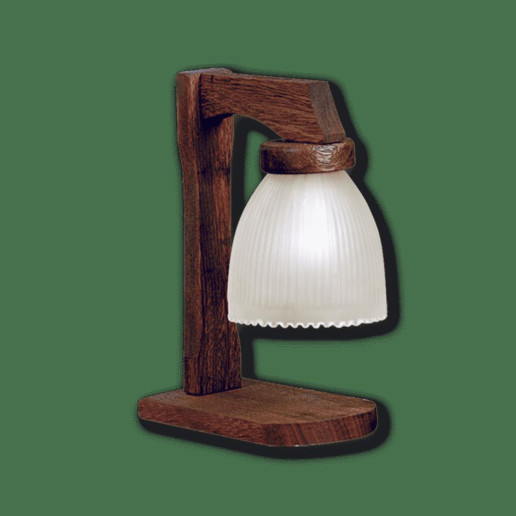 Velador rustico con tulipa de vidrio satinada