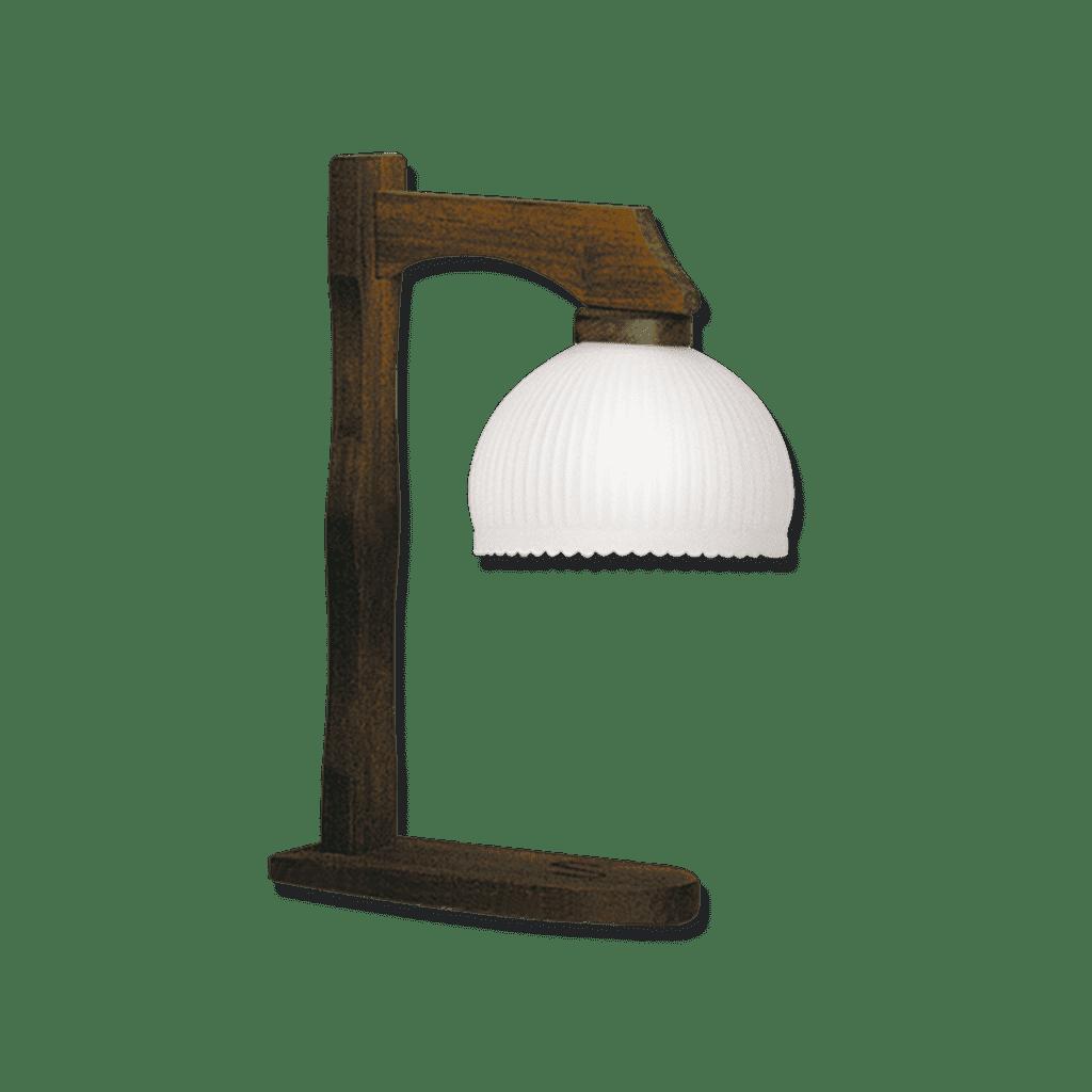 Lampara de mesa velador rustico con tulipa de 20 cm de diametro