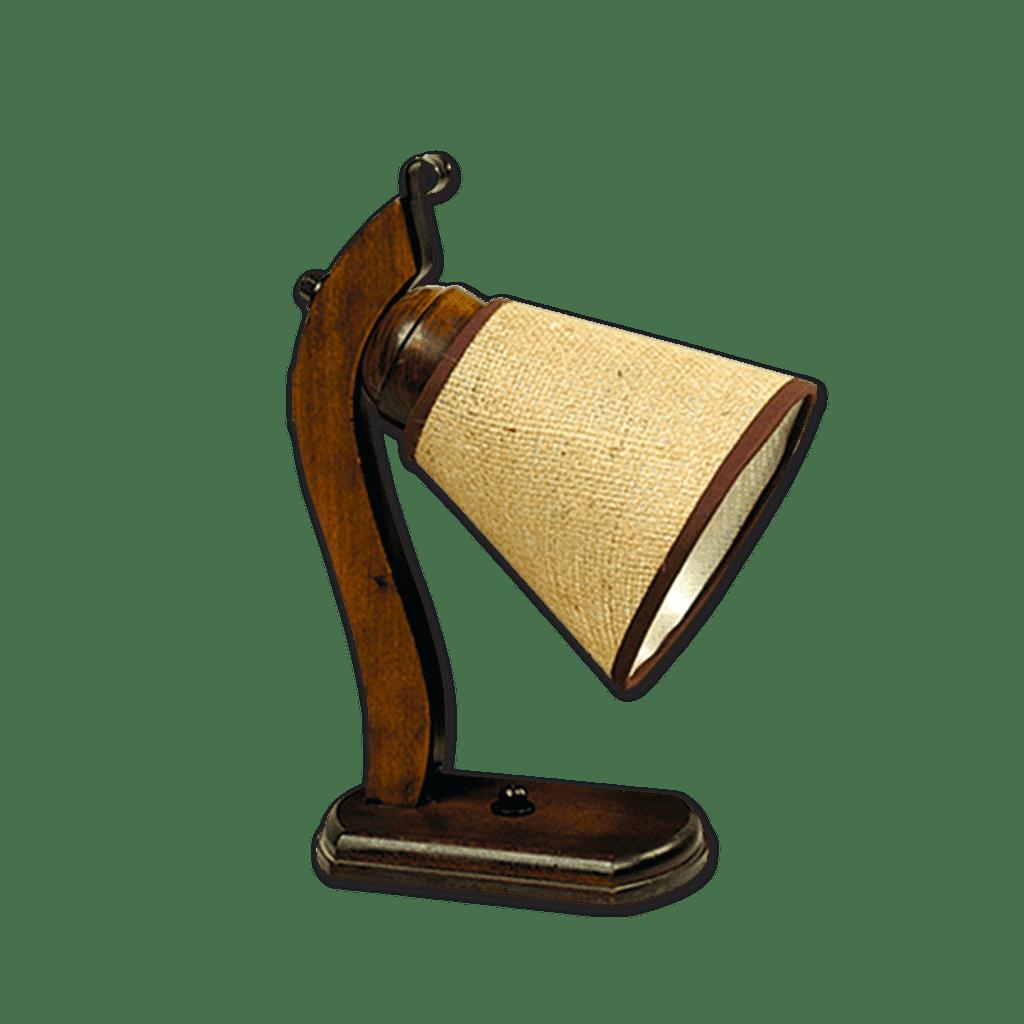 Velador de Mesa Madera con pantalla arpillera Diseño