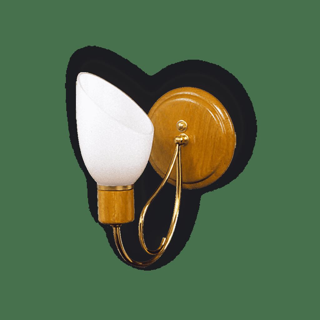 Aplique Pared 1 luz madera roble dorado + tulipa vidrio