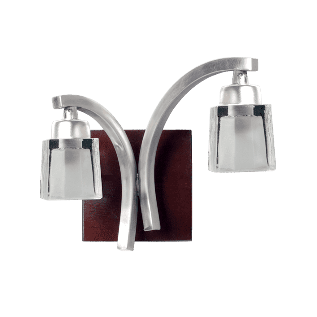 Aplique  pared de 2 luces base Madera brazo platil + tulipa vidrio  G9