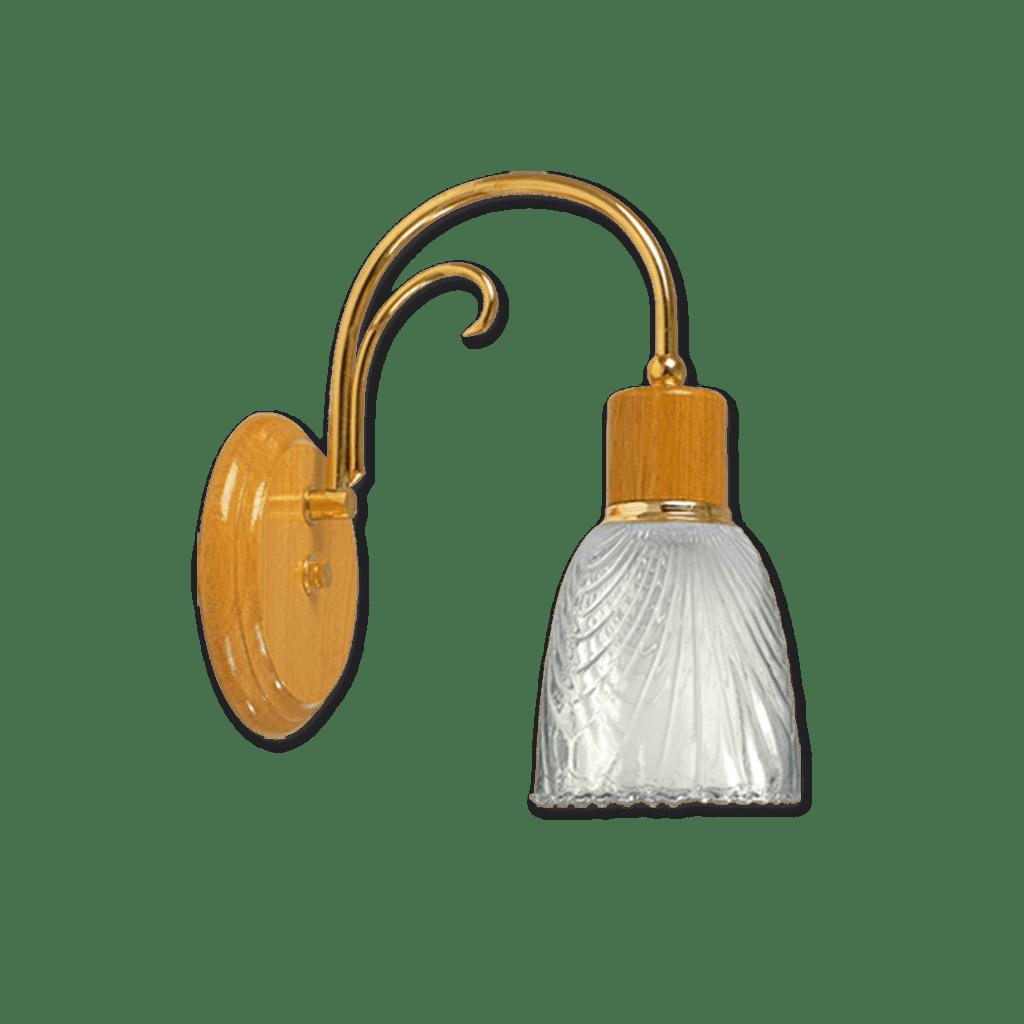 Aplique de luz pared Roble Con dorado + tulipa labrada
