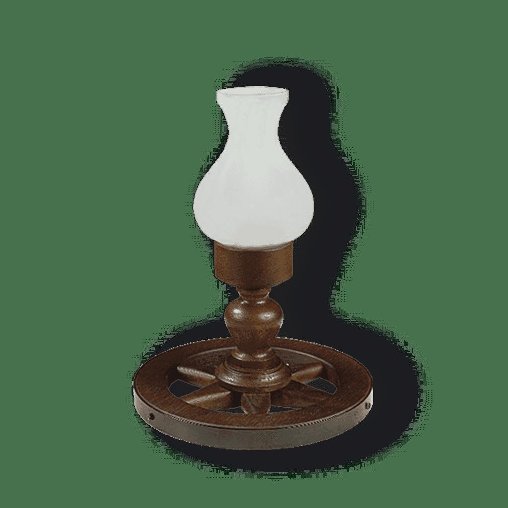 Velador de madera Tipo rueda con tulipa de vidrio