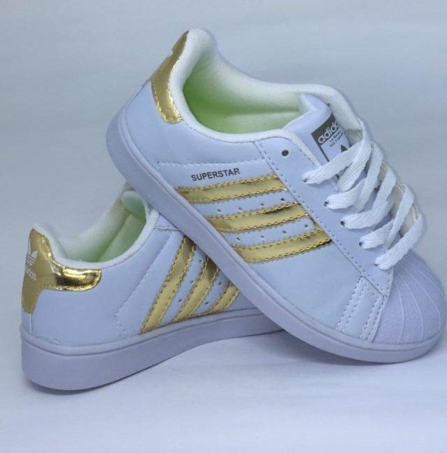 3dac64d3a65 Adidas Superstar - Branco Dourado - Porto Kids