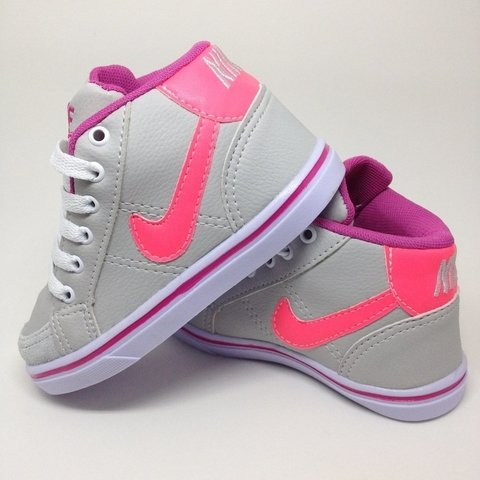 06c546df3e5 Nike Botinha Cano Couro Creme   Rosa - Porto Kids