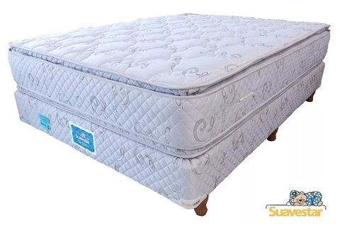 Colchón y Sommier Super Pillow Top - Resortes Continuos