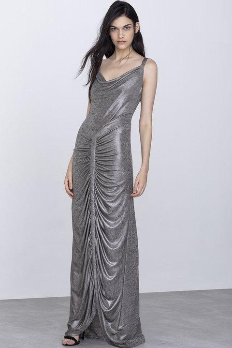 f36dbed796 Vestido Longo Metalizado Decote Degagê