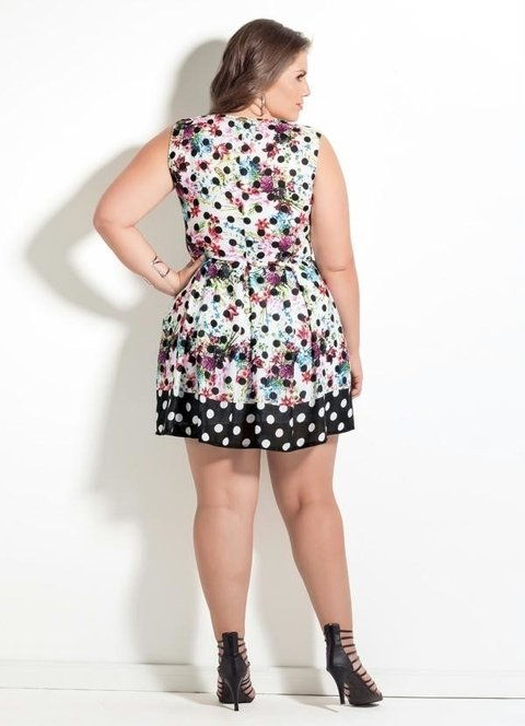 Vestido  Mix Poá Floral Plus Size na internet