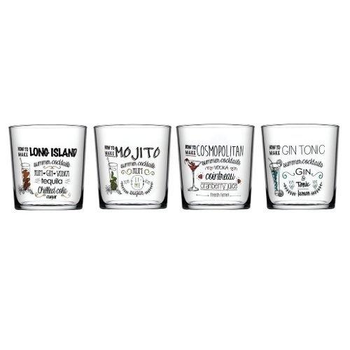 Set X 4 Vasos Vidrio Decorados Tragos Coctel Copa Pasabahce