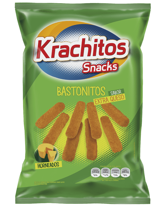 Bastonitos Extra Queso Krachitos por paquete de 55 gramos. Cod. 7794520421553