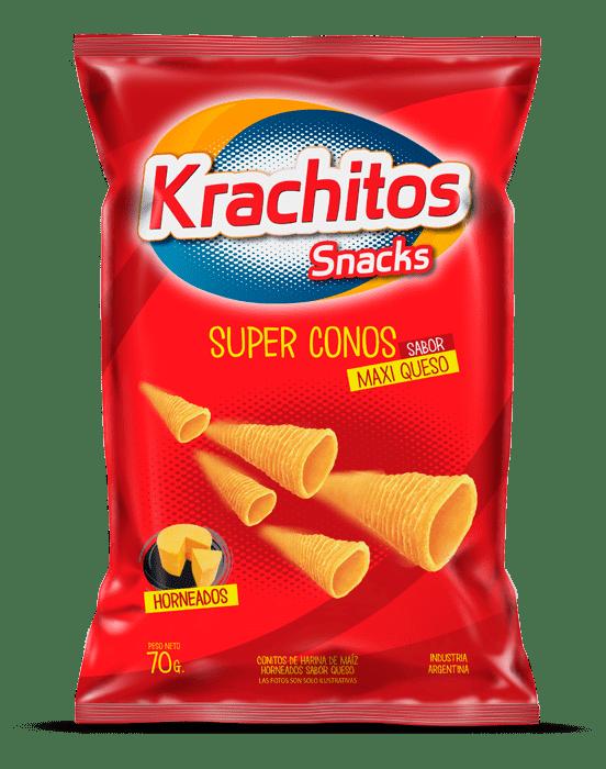 Super Conos Krachitos sabor Maxi Queso por paquete de 50 gramos. Cod. 7794520452151
