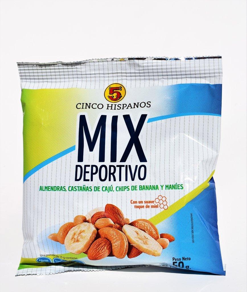 Mix Deportivo 5 Hispanos almendras, caju, mani y banana x paquete de 50 gramos Cod. 7794520001212