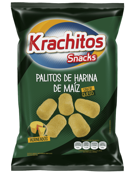 Palitos de Maiz con Queso Krachitos x paquete de 30 gramos Cod. 7794520421140