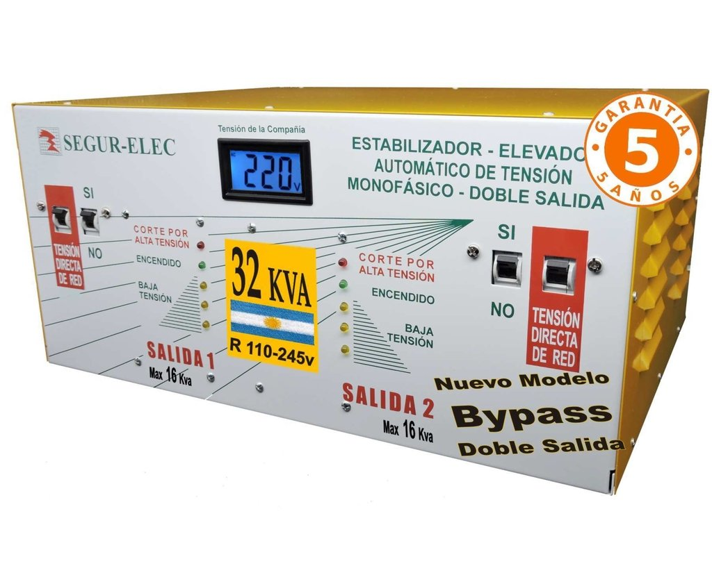 Elevador Automático Tensión Doble Salida Bypass 32 kva R110-245v