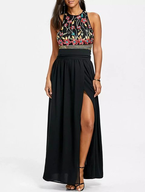 Embroidery High Slit Evening Dress