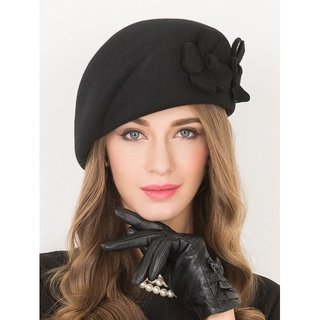 Flower Applique Embellished Wool French Beret - Black