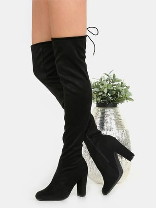 Chunky Heel Suede Thigh Boots