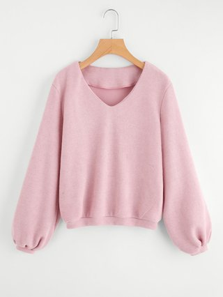 V Neck Ribbed Knit Pullover