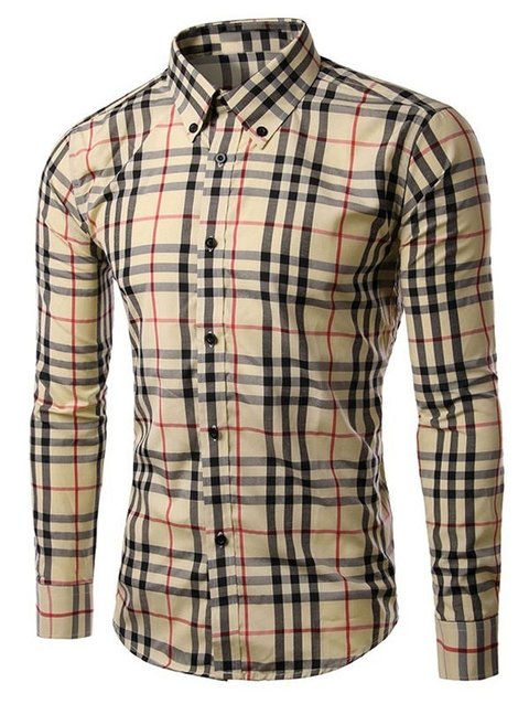 Button-Down Long Sleeve Checked Shirt