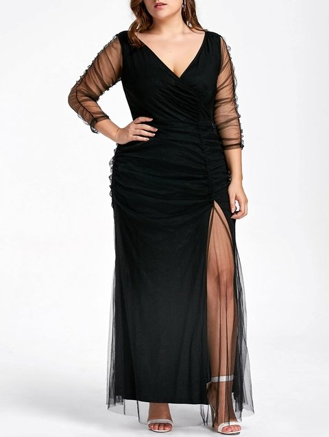 Plus Size Ruched Sheer Formal Dress