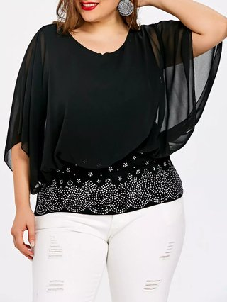 Plus Size Embellished Batwing Sleeve Blouse