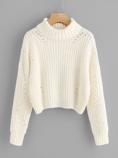 Roll Neck Eyelet Detail Jumper