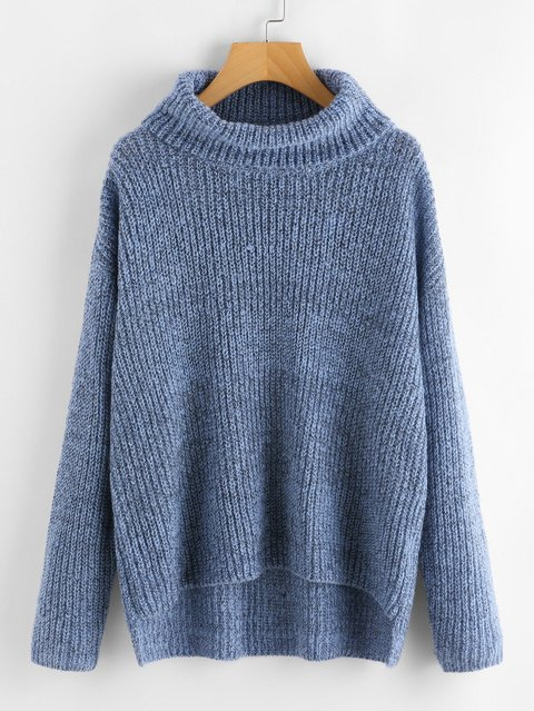 Dip Hem Turtle Neck Sweater