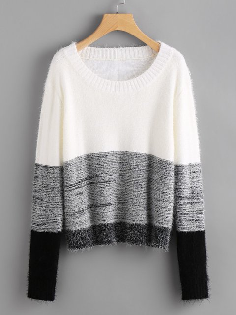Color Block Fluffy Jumper