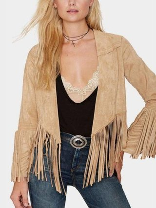 Camel Open Front Coat with Tassel Details - buy online