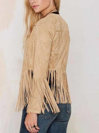 Camel Open Front Coat with Tassel Details on internet