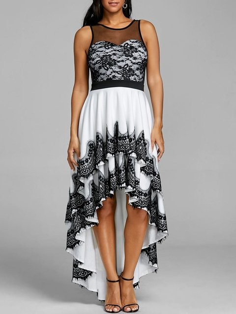 Cascading High Low Hem Evening Dress