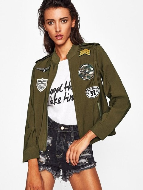 Epaulet Shoulder Patch Embroidery Jacket