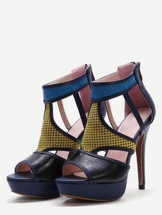 Multicolor Patchwork Leather Peep Toe Heeled Sandals