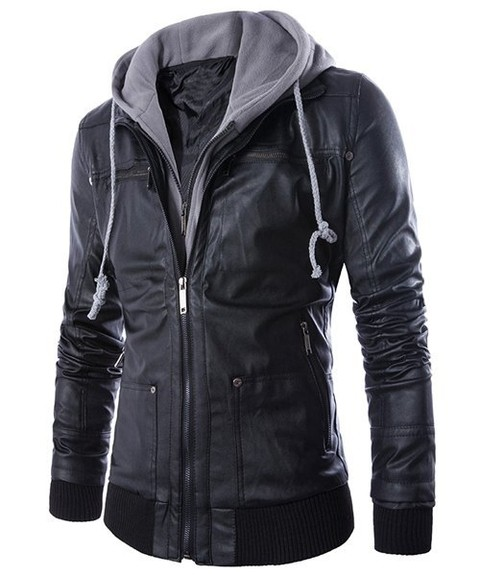 Faux Twinset Hooded Rib PU Leather Jacket